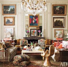 Jorge Elias ~ An Russian chandelier is suspended above vintage Baker sofas clad in a Clarence House silk velvet, Louis XV fauteuils, and a gold-leafed Hand chair by Pedro Friedeberg. Architectural Digest, Decoration Inspiration, Interior Inspiration, Estilo Ny, Beautiful Interiors, Beautiful Homes, Jorge Elias, Living Room Designs, Living Spaces