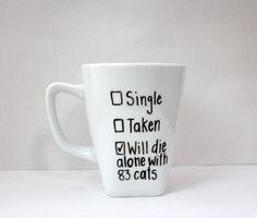 I love cats mug, checklist mug, will die alone with cats mug, fun mug, crazy cat lady, cat person mug, coffee lover, coffee and cats by InBetweenNapCrafts on Etsy https://www.etsy.com/listing/254035531/i-love-cats-mug-checklist-mug-will-die