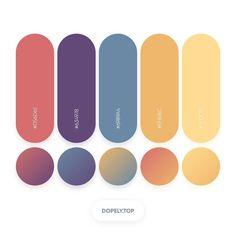 Dopely Colors #224 Color Palette #D56D6E • #634978 • #6989A4 • #EFB76C • #FFDC91