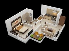 25 One Bedroom House/Apartment Plans A separate laundry room and cozy balcony make this upper level apartment perfectly comfortable. One Bedroom House, One Bedroom Apartment, Apartment Interior, 3d House Plans, Modern House Plans, Small House Plans, Apartment Floor Plans, Bedroom Floor Plans, Home Design Plans