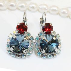 Red Navy Earrings Blue Red Patriotic 4th of July Crystal Stars and stripes Drop Dangle AB Swarovski Halo,Silver Finish,Denim Blue,SE102 by TIMATIBO on Etsy https://www.etsy.com/listing/231781411/red-navy-earrings-blue-red-patriotic-4th