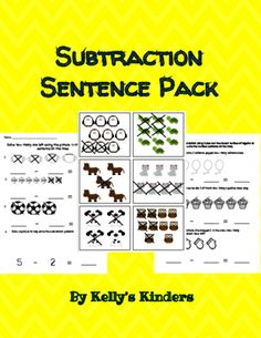 Subtraction Sentence Pack from Kelly's Kinders on TeachersNotebook.com -  (17 pages)  - Picture cards, worksheets, and word problems for subtraction in Kindergarten!