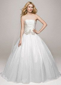 Strapless Satin Ball Gown with Beaded Accents, Style WG3630 #davidsbridal #weddingdresses #blacktiewedding #ballgown