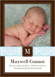 Damask Monogram Boy Birth Announcement