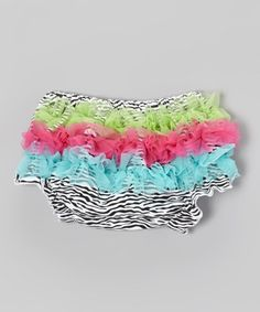 Take a look at this Zebra  Neon Ruffle Diaper Cover - Infant by Under The Hooded Towels on #zulily today!