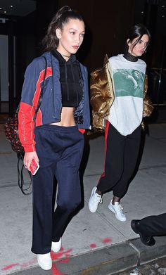 How Kendall Jenner and Bella Hadid Match Outfits for a Night Out via @WhoWhatWear