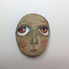 Original painting art stone Kaveman big eye girl rock outsider