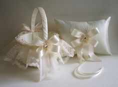 2 PC-Flower Girl Basket & Ring Pillow by RoseGardenStitches