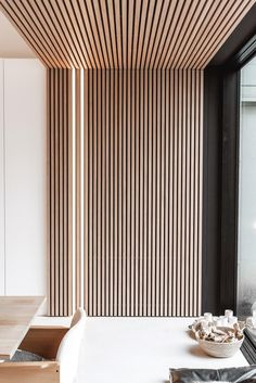 Home Room Design, Interior Design Living Room, Living Room Designs, Wood Slat Wall, Wood Slat Ceiling, Wood Slats, Wood Wall Paneling, Interior Wood Paneling, Diy Wood Wall