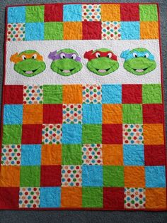 Ninja turtles cot quilt, nice and colorful