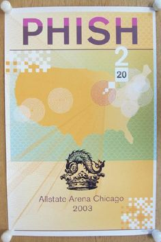 Original foil stamped concert poster for Phish at The Allstate Arena in Chicago, IL in 2003. 18 x 27 inches. Hand numbered out of 1000. Artwork by Dan Sharp. Slight edge wear.