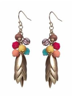 Tinley Road Multi Bead Gold Leaf Drop Earring. Piperlime. $20