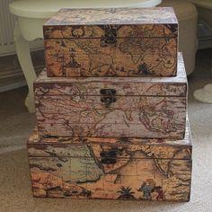Vintage Set of 3 Map Storage Boxes