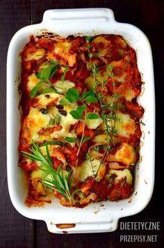 Zdrowa zapiekanka ziemniaczana z cukinią, pomidorami i mozzarellą   – Dietetyczne przepisy –