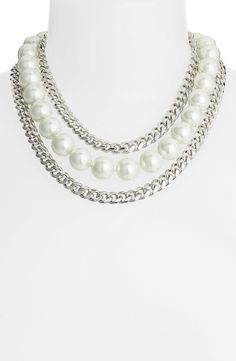 Givenchy Faux Pearl & Link Bib Necklace (Nordstrom Exclusive)