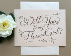 Flower Girl Card - Blush Pink Will You Be My Flower Girl? by SideStreetDesigns, $4.00