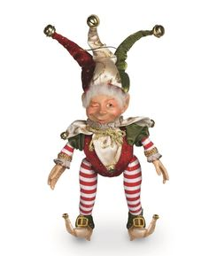 pot belly jester elf, posable figure for Christmas decorating available at Shelley B Home and Holiday.com