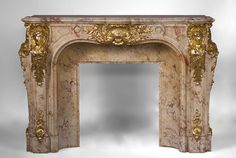 Prestigious antique fireplace in Scagliola as Sarrancolin Fantastico marble made after the fireplace of the Council Room at the Palace of Versailles