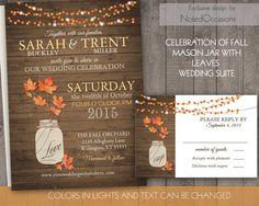 Fall Wedding Invitations | Rustic Mason Jar Country Wedding Invitations with fall leaves & lights - on wood grain | DIY Wedding printable by NotedOccasions, $45.00