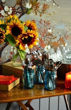 Rustic display with mason jars and cutlery