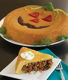 Jack-o'-Lantern Tamale Bake Halloween Mexican Recipe