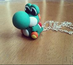 Yoshi necklace polymer clay by FlowerChildCharms on Etsy