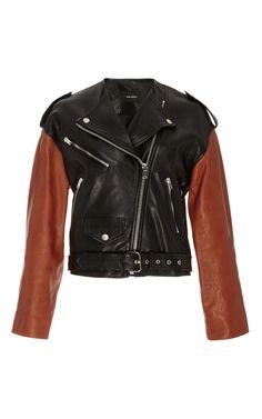 Audric Black and Burnt Orange Lambs Leather Biker Jacket by Isabel Marant Now Available on Moda Operandi