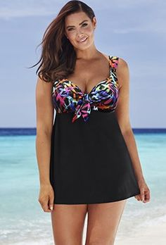 Swimdress - Longitude Sparkler Tie-Front Swimdress
