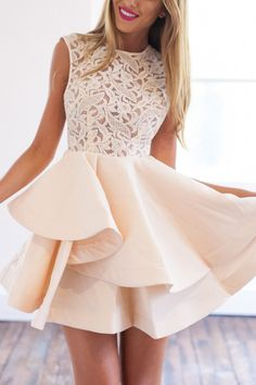 Shop With Zipper Blush Lace Insert Flare Apricot Dress online. SheIn offers With Zipper Blush Lace Insert Flare Apricot Dress & more to fit your fashionable needs. Cute Prom Dresses, Dresses Short, Prom Dresses 2018, Beige Dresses, Pretty Dresses, Beautiful Dresses, Summer Dresses, Dress Prom, Dresses Dresses