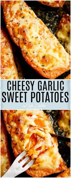 Cheesy Garlic Sweet Potatoes are the perfect side dish OR snack! Mozzarella cheese and parmesan top these tender garlic butter smothered sweet potatoes!