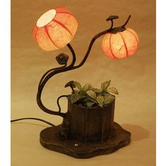 Mulberry Rice Paper Ball Handmade Floral Flower Design Art Shade Red Round Globe Two Lantern Brown Asian Oriental Classic Decorative Accent Chic Modern Bedside Table Lamp - - Amazon.com