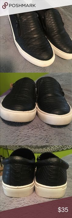 Faux leather black slip ons*NEED THESE TO GO* Faux leather snake skin style slip ons, super cute. I got at Nordstrom rack. I wore them a handful of times it's not what I was looking for. Absolutely nothin wrong with them. If purchased I will clean them up more but they are in perfect condition! You can ask me any questions:) price is firm Report Shoes