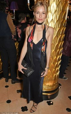 Model material: Sienna Miller certainly did not disappoint in the style stakes on Tuesday night, as she stunned in yet another chic ensemble at the Rockins Selfridges bash in London