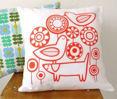New Scandinavian 'Playtime' cushion pillow cover by Jane Foster Birds and dog