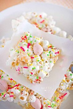 Mix popcorn and bunny grahams with melted butter and marshmallows, then sprinkle with candy.