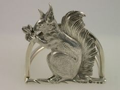 Menu Holder Squirrel by Henry William Dee, London at Steppes Hill Farm Antiques, in Sittingbourne, England. Vintage Silver, Antique Silver, Aesthetic Fashion, Aesthetic Style, Menu Holders, Henry Williams, Rabbit Art, Vintage Dishes, Porcelain