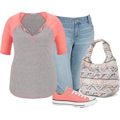 Plus Size by bkassinger on Polyvore featuring maurices, Old Navy, Converse and Candie's