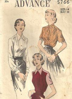Advance 5766 Vintage 50s Sewing Pattern Blouse by studioGpatterns, $9.50