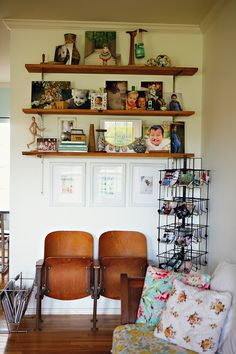 would love shelves like this over a more substantial bar cart!-Ashley Campbells beautiful home via A Beautiful Mess