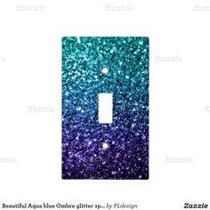 Beautiful Aqua Blue Ombre Glitter Sparkles Light Switch Cover