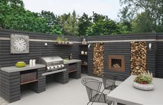 Outdoor Kitchen Designs To Get Things Cooking In Your Backyard: These outdoor kitchen design ideas are ideal for backyard entertaining. Spend more time outside this summer with these outdoor patio kitchens. Outdoor Decor, Diy Outdoor, Backyard Design, Outdoor Kitchen Design, Outdoor Rooms, Modern Outdoor Kitchen, Modern Outdoor, Outdoor Cooking, Outdoor Design