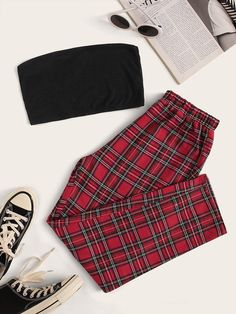 Shop Rib-knit Crop Tube Top & Tartan Pants Set at ROMWE, discover more fashion styles online. Girls Fashion Clothes, Teen Fashion Outfits, Mode Outfits, Retro Outfits, Grunge Outfits, Girl Outfits, Preteen Fashion, Hip Hop Outfits, Style Clothes