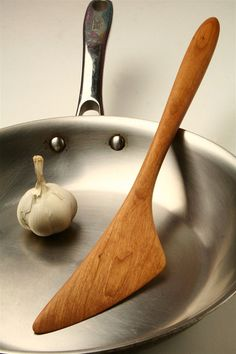 Cherry wood wooden saute spatula stir frying by KitchenCarvings