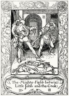 The mighty fight betwixt Little John and the cook.  From The merry adventures of Robin Hood, written and illustrated by Howard Pyle, New York, 1892.  (Source: archive.org)
