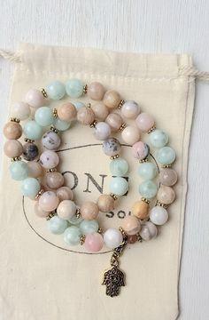 Mala Bracelet Diy, Rose Quartz Bracelet, Lava Bracelet, Gemstone Bracelets, Gemstone Jewelry, Beaded Jewelry, Jewellery, Bracelet Packaging, Diffuser Jewelry