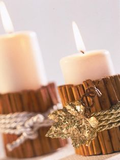 Easy candle: Surround with cinnamon sticks, wrap with twine, rope, ribbon, and embellish
