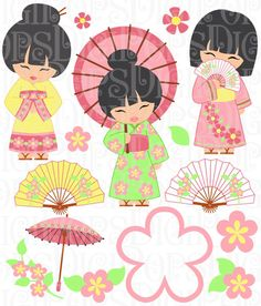 Oriental Girls Digital Clip Art Set -Personal and Commercial- Chinese, Cherry Blossoms, Fans, Umbrella, Instant Download by DigiPops on Etsy https://www.etsy.com/listing/193405880/oriental-girls-digital-clip-art-set