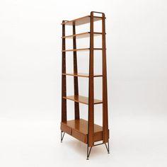 Libreria anni '60 in metallo e teak nello stile di Albini, bookcase, vintage