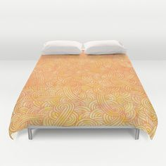 """Yellow and orange arabesques"" Duvet Cover by Savousepate - $99.00 #duvetcover #bedroomdecor #bedroom #orange #yellow #scrolls #pattern #doodles #zentangle #abstract"