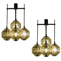 Pair of Enameled Steel and Brass with Venini Glass Chandeliers, Italy, 1970s   1stdibs.com